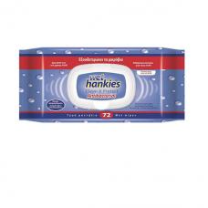 Wet Hankies Clean & Protect Antibacterial Υγρά Αντιβακτηριδιακά Μαντηλάκια, 72τεμ.